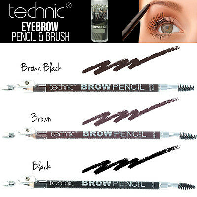 Technic Eyebrow Pencil and Brush Includes Built in Sharpener & Brow Brush