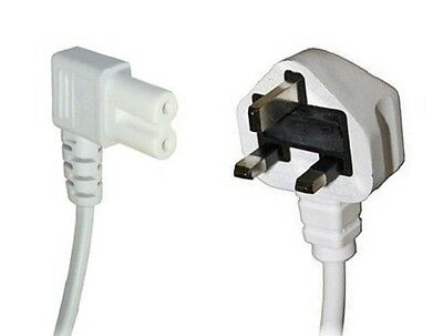 10m WHITE Figure Fig of 8 IEC C7 Mains Power Lead Cable - Right Angled 90 Degree