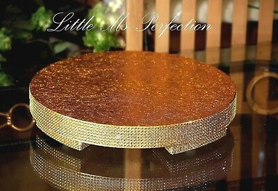 """Gold Silver Diamante Solid Wood Wedding  Cake Stand  Round 12"""" - 22"""" See Video"""