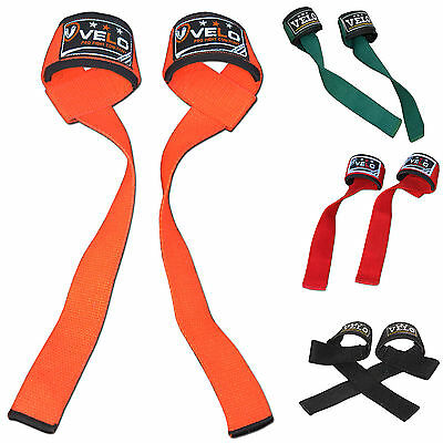 VELO Padded Weight Lifting Training Gym Straps Hand Bar Wrist Support Wrap