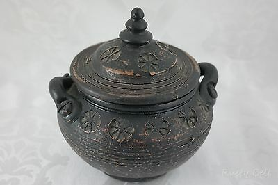 Doubled Handled Brown Dark Bronze Ceramic Pottery Covered Bowl Dish Pot