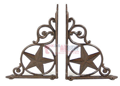 4 Western Star Shelf Bracket Cast Iron Rustic Look Decorative Doorway Accent