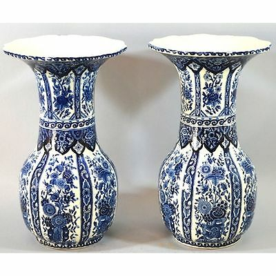 Pair Boch Royal Sphinx Delft Baluster Vases Having Floral Designs Scalloped Rims