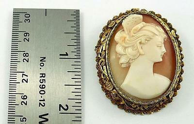Vintage Natural Shell Cameo Pendant and/or Pin in a Gilt .800 Fine Silver Mount