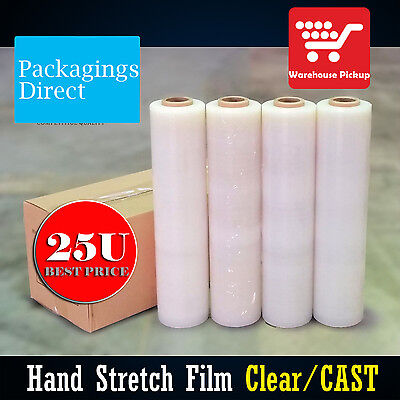4 Rolls CLEAR 25U 500mm x 400m Hand Stretch Film for Pallet Carton Wrap