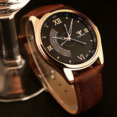 Elegant Classic Business Leather Watch Military Army Sports Wristwatches For Men