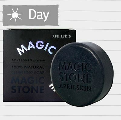April Skin - Magic Stone Face Whitening 100% Cleansing Soap 100g Charcoal Black