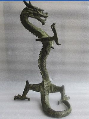 Collect delicate vivid Good luck  bronze Chinese dragon statue Figures