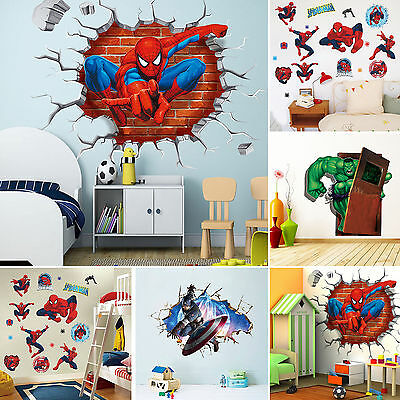 Super Heroes Avengers Wall Decals Stickers Mural Funny Kids Bedroom Decor Home