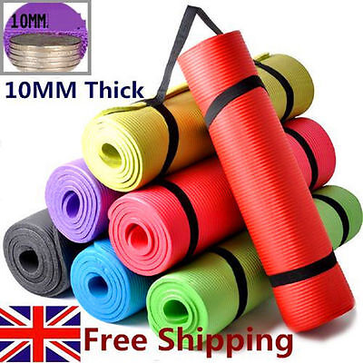 Yoga Mat 10mm Thick Exercise Fitness Physio Pilates Gym Mats Non Slip Carrier SA