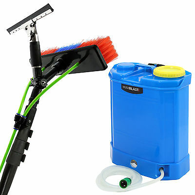 20ft Window Cleaning Water Fed Pole & Backpack Telescopic Extendable Brush