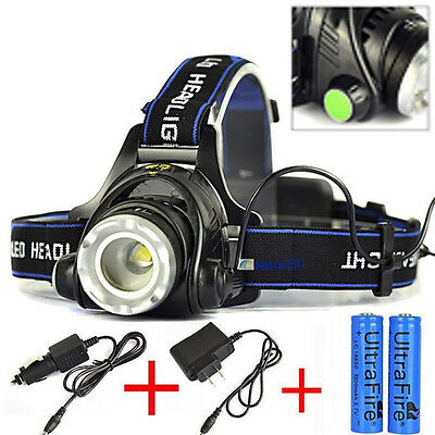 ZOOM 5000LM XM-L XML T6 LED Headlamp Headlight Lamp Light Charger Battery