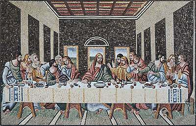 Religious Christian Mosaic- The Last Supper Wall Tile Mural
