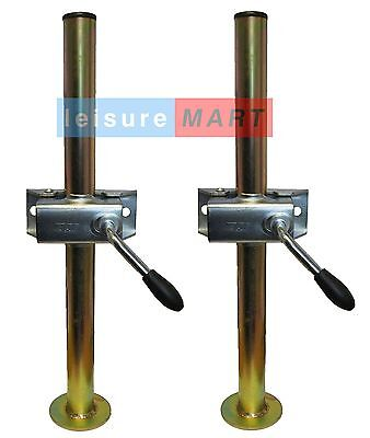 A pair of trailer prop stands corner steadies with split clamps 34mm dia X 460mm