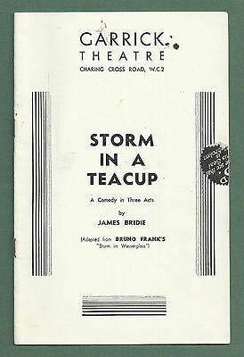 """1936 Garrick Theatre Programme """"storm In A Teacup"""" Roger Livesey"""