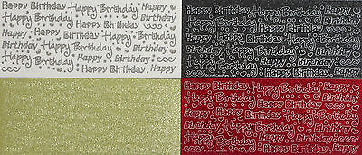 SPARKLE GLITTER HAPPY BIRTHDAY Type 2 PEEL OFF STICKER Hearts Swirls Dots Script