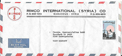 Syria 1986 Commercial Airmail Cover to West Germany Not Cancelled