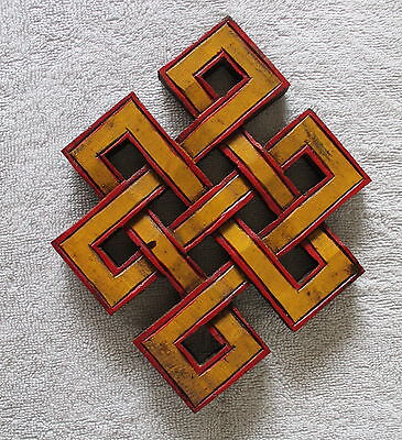 Hand Carved Wooden Tibetan Auspicious Symbol Endless Knot
