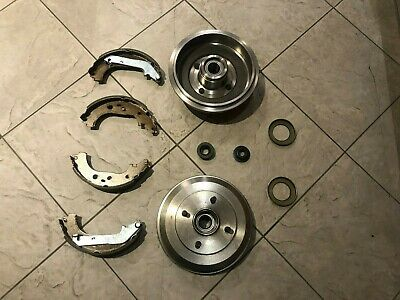 Ford Fiesta Mk 6  02 Two Rear Brake Drums With Fitted Bearings + 4 Brake Shoes
