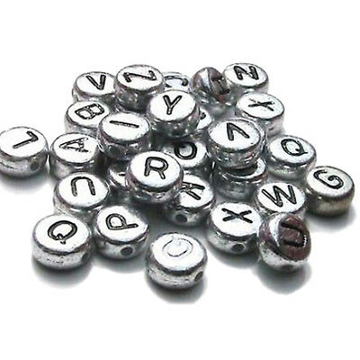 Bronze Tibetan Silver Letters Round Charms Beads DIY Crafts Accessory BF