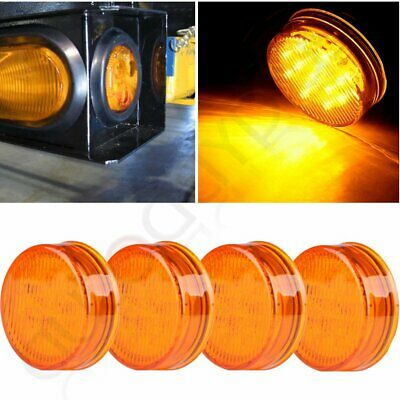 """4pcs Yellow Round 2.5"""" Side Marker Light Front Rear Trailer Truck Lamp 13Diodes"""