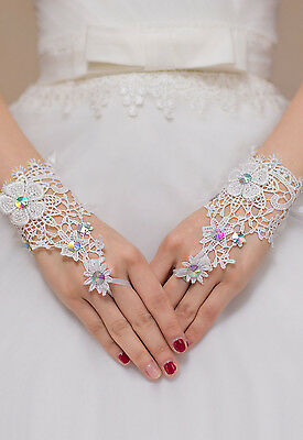 White Elegant Floral Lace Diamond Detail Wedding Bridal GLOVES Holy Communion