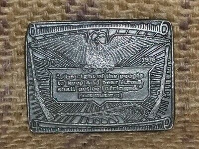 Vintage Eagle Second Amendment Pewter Belt Buckle - Right to Bear Arms 1776 1976