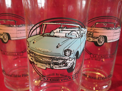 Lot 3 Vtg 80's Round Table Pizza Collector's Drinking Glass 57 Chevy 59 Cadillac