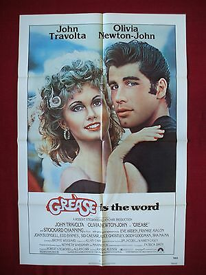 Grease *1978 Original Movie Poster John Travolta Olivia Newton-John Musical Nm-M