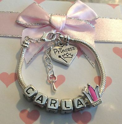 Personalised ANY NAME childrens girls princess crown bracelet gift box