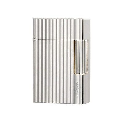 S.T. Dupont Silver Plate, Vertical Lines Gatsby Lighter, 18137 (018137), NIB