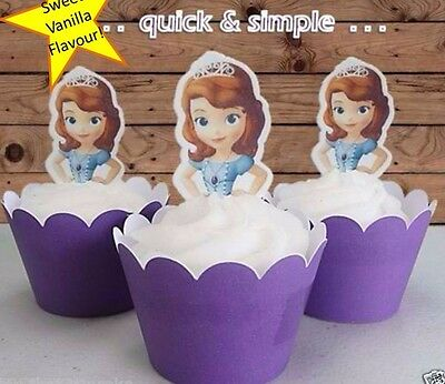 Sofia the First princess half body EDIBLE wafer cupcake cake toppers STAND UP