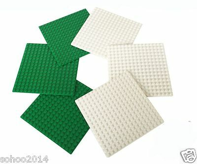 6pcs Brick Base plate for Lego Compatible 5'' x 5'' Green White Color 16x16 pins