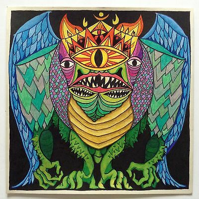 GRUMPUS original OUTSIDER ART by VELVEETA lowbrow psychedelic visionary signed