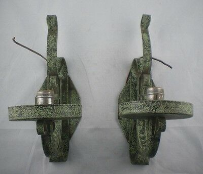 Pair Wrought Iron Wall Electric Sconces Faux Green Patina Paint Medieval Gothic