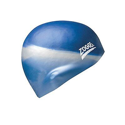 NEW Zoggs Silicone Multi Coloured Swim Cap - Blue/Silver from Ezi Sports Store