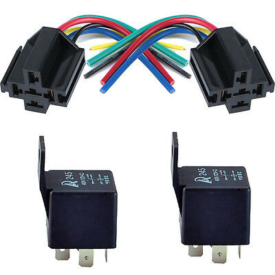 2Pack 40A SPDT Electrical Relay & Socket 5Pin Relays 5 Wire Universal 12V