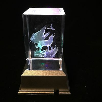 Howling Wolf On Mountain  - 3D Laser Etched Crystal Block With Light base