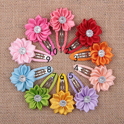 10pcs Cute Girls Kids Baby Mini Hair Clips Flower Crystal hairpins New