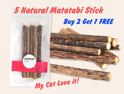 5pcs Japanese Matatabi Polygama Natural Catnip Chew Stick Treat Cat Toy Relaxing