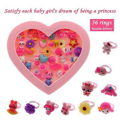 36Pcs Mixed Assorted Flower Animal Heart Cartoon Girls Baby Children Rings Boxed