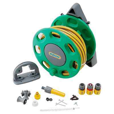 Hozelock 30m Wall Mounted Hose Reel with General Purpose Hose 15m