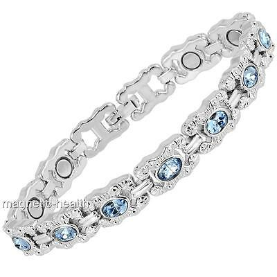 Ladies Magnetic Therapy Bracelet Blue Crystals Bangle Arthritis Pain Relief 96