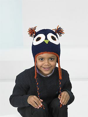Kids Create Your Own Owl Navy Blue Orange Easy Crochet Hat Kit 4 to 8 Years
