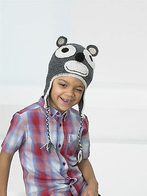 Kids Create Your Own Monkey Grey Beige Easy Crochet Hat Kit 4 to 8 Years