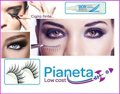 10 Paia Ciglia Finte Colla Lunghe Naturali Autoadesive Make Up False Eyelashes