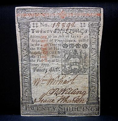 Colonial Currency ✪ Pennsylvania October 1St 1773 ✪ Fr Pa-169 20S X892◢Trusted◣