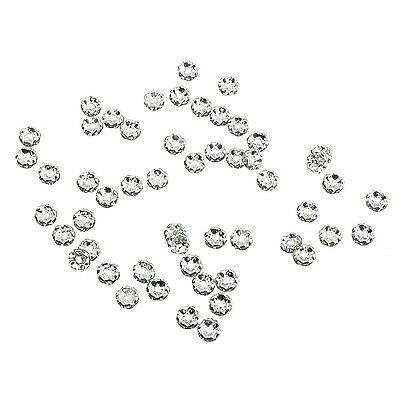 50pcs 6mm Silver Flower Rhinestone Rondelle Bead Spacer HOT BF