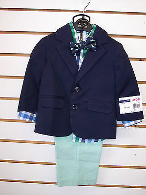 Infant & Toddler Boys IZOD $79.50 4pc Navy & Green Suit Size 12 Months - 4T