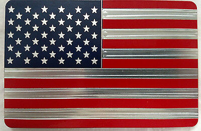 AMERICAN FLAG, Billet Aluminum Hitch Cover Plug, Red/Blue 4x6 Made In USA